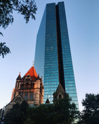 Copley Square at dusk.